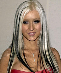 Christina Aguilera Long Straight Alternative    Hairstyle   - Light White Blonde and Black Two-Tone Hair Color