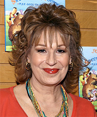 Joy Behar Medium Wavy Formal    Hairstyle with Layered Bangs  -  Chestnut Brunette Hair Color