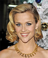 Reese Witherspoon Medium Wavy Formal  Bob  Hairstyle   -  Golden Blonde Hair Color with Light Blonde Highlights