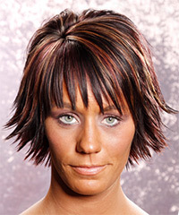 Medium Straight Casual    Hairstyle with Layered Bangs  - Dark Plum Red Hair Color with  Red Highlights