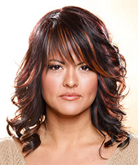 Long Wavy Casual    Hairstyle with Layered Bangs  - Dark Plum Brunette Hair Color with  Red Highlights