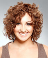 Medium Curly Casual    Hairstyle   - Light Brunette Hair Color