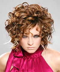 Short Curly Formal    Hairstyle with Layered Bangs  -  Auburn Brunette Hair Color