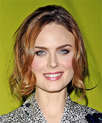 Emily Deschanel  Long Curly Casual   Half Up Hairstyle