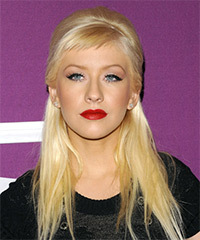 Christina Aguilera  Long Straight Casual   Half Up Hairstyle with Side Swept Bangs