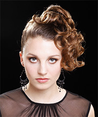Long Curly Formal   Updo Hairstyle   - Light Caramel Brunette Hair Color