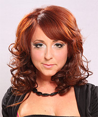 Long Curly Formal    Hairstyle with Side Swept Bangs  -  Ginger Red Hair Color