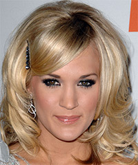 Carrie Underwood Medium Wavy Formal    Hairstyle   -  Champagne Blonde Hair Color