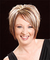 Short Straight Casual    Hairstyle   - Dark Copper Blonde Hair Color