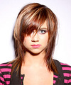 Long Straight Casual    Hairstyle with Side Swept Bangs  - Dark Red Hair Color with Light Red Highlights