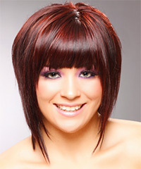 Medium Straight Casual Layered Bob  Hairstyle with Blunt Cut Bangs  -  Red Hair Color