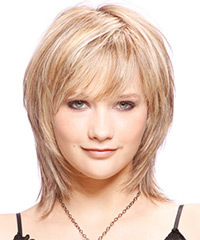 Medium Straight Casual    Hairstyle with Side Swept Bangs  - Light Champagne Blonde Hair Color with Light Blonde Highlights