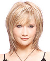 Medium Straight   Light Champagne Blonde   Hairstyle with Side Swept Bangs  and Light Blonde Highlights