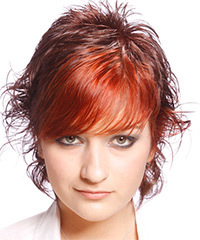 Short Wavy Alternative    Hairstyle with Side Swept Bangs  -  Red Hair Color