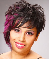 Short Wavy Alternative    Hairstyle   - Black  Hair Color with Pink Highlights