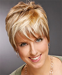 Short Straight Casual    Hairstyle with Layered Bangs  -  Copper Blonde Hair Color with Light Blonde Highlights