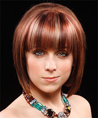 Medium Straight Formal  Bob  Hairstyle with Blunt Cut Bangs  - Dark Red Hair Color