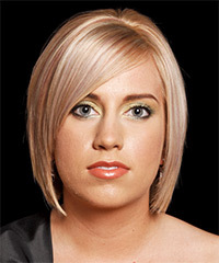 Medium Straight Formal  Bob  Hairstyle with Side Swept Bangs  -  Strawberry Blonde Hair Color