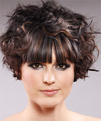 Short Wavy Alternative    Hairstyle with Blunt Cut Bangs  - Dark Brunette Hair Color