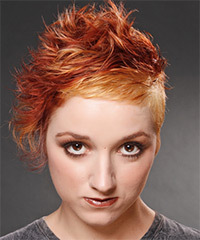 Short Wavy Alternative    Hairstyle   -  Bright Red Hair Color