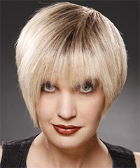 Short Straight Casual    Hairstyle   - Light Champagne Blonde Hair Color