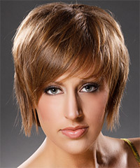 Short Straight Casual    Hairstyle   -  Caramel Brunette Hair Color
